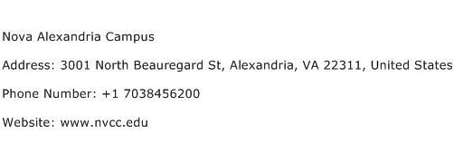 Nova Alexandria Campus Address Contact Number