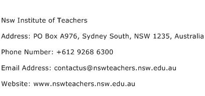 Nsw Institute of Teachers Address Contact Number