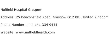 Nuffield Hospital Glasgow Address Contact Number