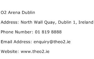 O2 Arena Dublin Address Contact Number