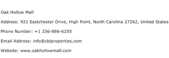 Oak Hollow Mall Address Contact Number