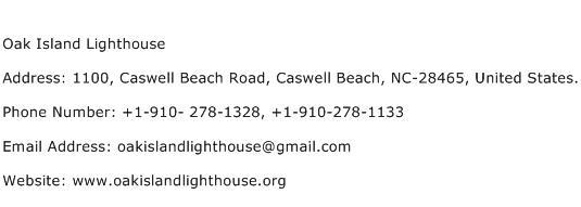 Oak Island Lighthouse Address Contact Number