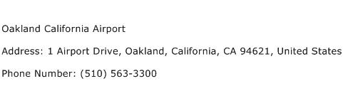 Oakland California Airport Address Contact Number