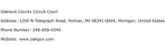 Oakland County Circuit Court Address Contact Number