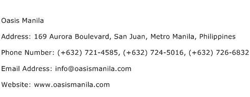 Oasis Manila Address Contact Number