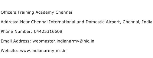Officers Training Academy Chennai Address Contact Number