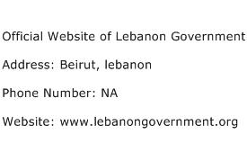 Official Website of Lebanon Government Address Contact Number