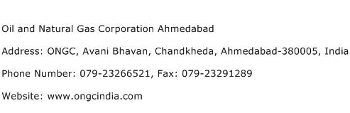 Oil and Natural Gas Corporation Ahmedabad Address Contact Number