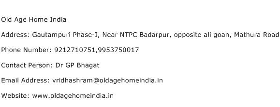 Old Age Home India Address Contact Number