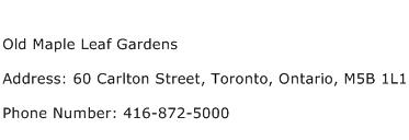 Old Maple Leaf Gardens Address Contact Number