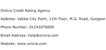 Onicra Credit Rating Agency Address Contact Number