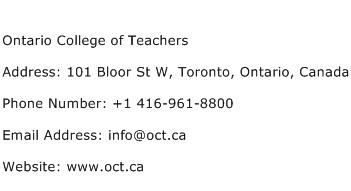 Ontario College of Teachers Address Contact Number