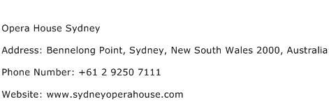 Opera House Sydney Address Contact Number