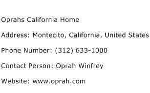 Oprahs California Home Address Contact Number