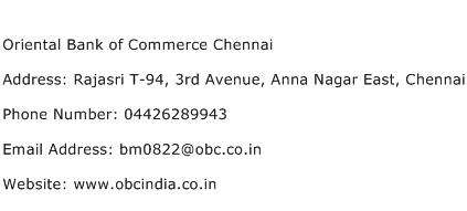 Oriental Bank of Commerce Chennai Address Contact Number
