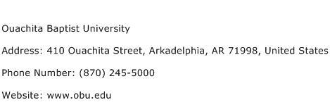 Ouachita Baptist University Address Contact Number
