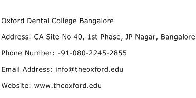 Oxford Dental College Bangalore Address Contact Number