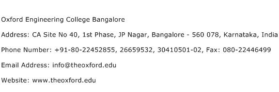 Oxford Engineering College Bangalore Address Contact Number