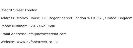 Oxford Street London Address Contact Number