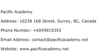 Pacific Academy Address Contact Number