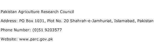 Pakistan Agriculture Research Council Address Contact Number