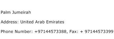 Palm Jumeirah Address Contact Number