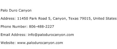 Palo Duro Canyon Address Contact Number