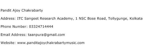 Pandit Ajoy Chakrabarty Address Contact Number