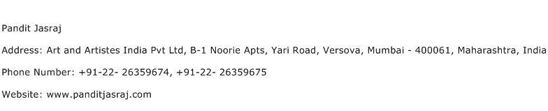 Pandit Jasraj Address Contact Number
