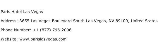 Paris Hotel Las Vegas Address Contact Number