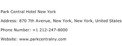 Park Central Hotel New York Address Contact Number