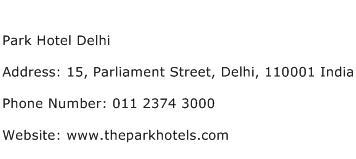 Park Hotel Delhi Address Contact Number