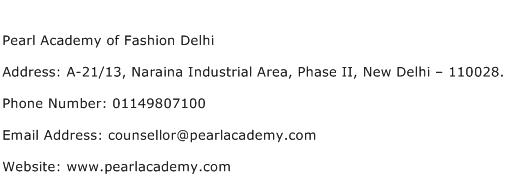 Pearl Academy of Fashion Delhi Address Contact Number