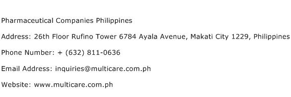 Pharmaceutical Companies Philippines Address Contact Number