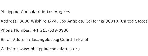 Philippine Consulate in Los Angeles Address Contact Number
