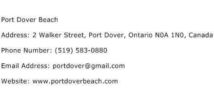 Port Dover Beach Address Contact Number