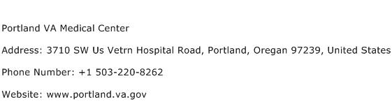 Portland VA Medical Center Address Contact Number
