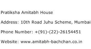 Pratiksha Amitabh House Address Contact Number