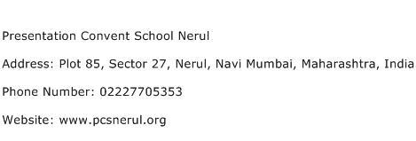 Presentation Convent School Nerul Address Contact Number