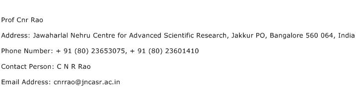 Prof Cnr Rao Address Contact Number