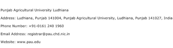 Punjab Agricultural University Ludhiana Address Contact Number