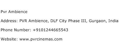 Pvr Ambience Address Contact Number