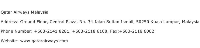 Qatar Airways Malaysia Address Contact Number