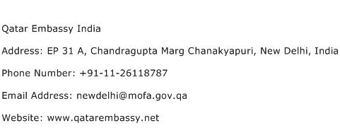 Qatar Embassy India Address Contact Number