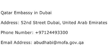 Qatar Embassy in Dubai Address Contact Number