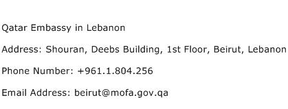 Qatar Embassy in Lebanon Address Contact Number