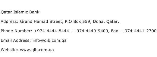 Qatar Islamic Bank Address Contact Number