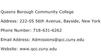 Queens Borough Community College Address Contact Number