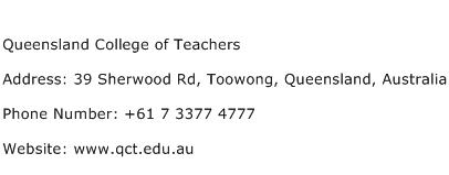 Queensland College of Teachers Address Contact Number