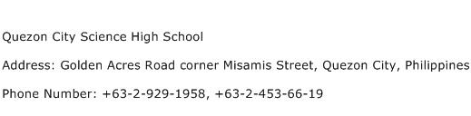 Quezon City Science High School Address Contact Number